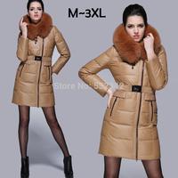 2014 Nordic imported fox fur collar high-end brand down jacket winter thickening warm white duck down parkas for women xxl,xxxl
