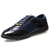 Classic Brand Men Leather Fashion Sneakers EU 39-44 Point Toe Lace-Up Style Man Casual Shoes Black / Blue / Brown
