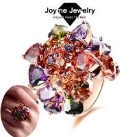 Joyme Brand 18K Rose Gold Plated Multicolor Cubic Zircon Finger Ring For Women Mona Lisa Jewelry Wedding Rings Christmas Gift