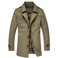 Big Size M-5XL Men Long Jackets 2014 Turn-down Collar Single Breasted Style Men Fashion Windbreaker Casual Outerwear