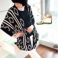 2014 Women Loose Cardigan Long Knitted Sweater Leisure Irregular Collar Print Knitwear B22 CB030702
