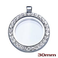 Free shipping 10 pcs/lot Alloy 30mm Round Rhinestones Magnetic Open Glass Origami Owl Memory Living Floating Charm Locket