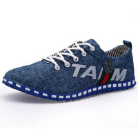 Comfortable Men Casual Canvas Shoes Eu 39-44 New Arrival Letter Print Washing Effects Man Denim Fashion Sneakers