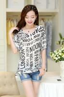2014 Summer New Short-sleeved Striped Chiffon Shirt Printing Bubble Letters Fashion Shirt Top Blouse S-XXL Free Shipping #0006