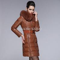 high quality luxury fox fur collar slim down coat medium-long women's plus size winter down jackets with belt xl,xxl,xxxl