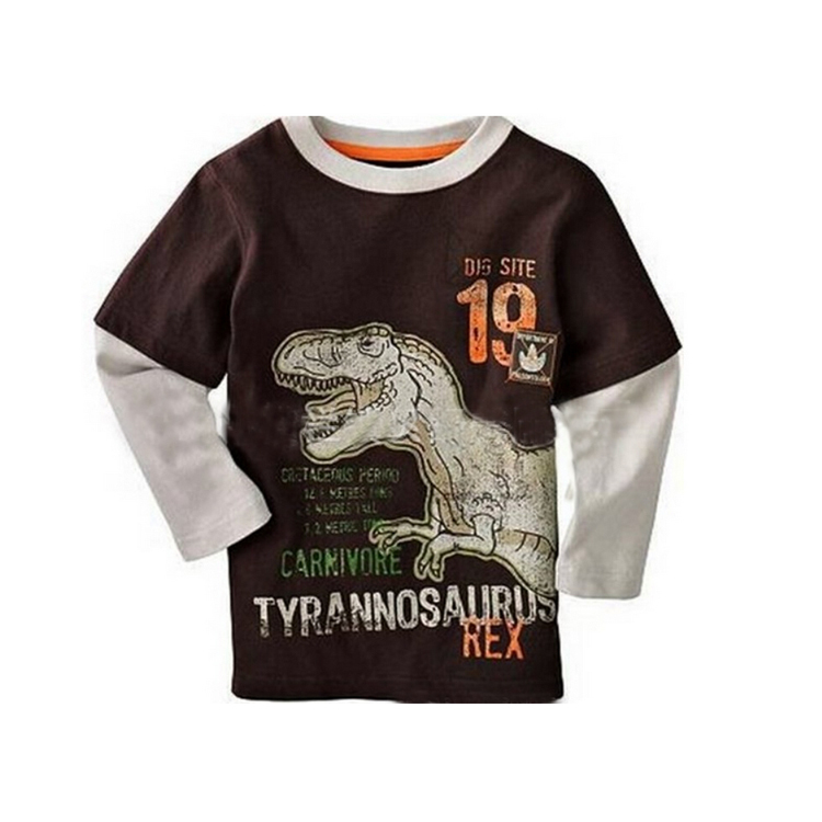 Tong T shirt 2014 spring and autumn new men's cashmere is not inverted dinosaur spell color long-sleeved T-shirts for children(China (Mainland))