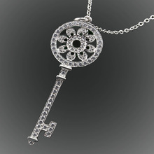2015 Brand Jewelry Lady s White Sapphire CZ Crystal Stone 925 Sterling Silver Key Pendant Necklace