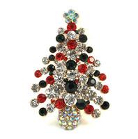 Sweet Colorful Crystal Rhinestone Christmas Tree Brooch