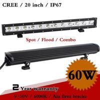 20 Inch 60W CREE LED Work Light Bar 12V IP67 Spot Flood for 4WD 4x4 Offroad Truck Car Fog Light External Light Save on 90W
