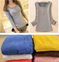 Fleece Warm Winter Sweater Ladies Warm Pullover Plus Velvet long sleeve T-shirt  Sweatershirt Tops 8 Colors Black Gray White A8