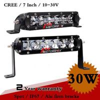 7 Inch 30W CREE LED Work Light Bar IP67 12V Spot For Off Road SUV ATV Truck LED Fog Light External Light Save on 60W 120W