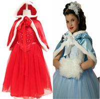 Retail 2015 new arrive girls winter dress, long sleeve snowflake dress, princess dress, 100% cotton elsa dress + hat shawl