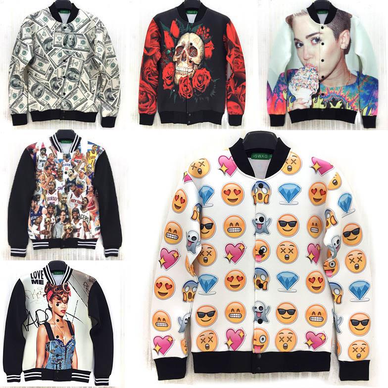 2015 New Spring casual-jacket Miley Cyrus/Rihanna/skull/emoji/rose/money/dog print 3D jacket men outdoors sportswear coat(China (Mainland))