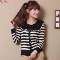 2015 Spring girl's knitwear cotton blended casual sweater women's long sleeves o-neck shirt striped knitted Cardigan