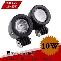 2 PCS 2 Inch 10W LED Work Light Spot Flood For 4x4 Motorcycle Offroad ATV Fog light LED Worklight External Light Save on 18w 27w