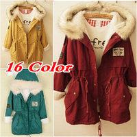 New 2014 Thickening Long Winter Jacket Women Casual Fleece Fur Hooded Jacket Parka Cotton-padded Slim Down & Parkas Coat