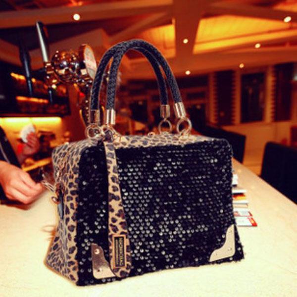 New Black Fashion Women Lady Sequins Paillette Shouder Bag Leopard Handbag Tote Bolsas Femininas Bolsos Mujer(China (Mainland))