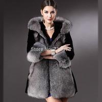 Winter fur coat Women Luxury High-Grade Fox Fur Coat Stitching Rabbit Wool Overcoat Shitsuke Winter Jacket Plus size S-XXXL