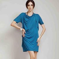 2014 summer women's fashion brand short-sleeved Knitting  dress thin high quality Breathable soft Irregular design prom dress
