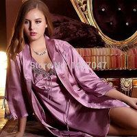 Hot Sale New Robe Sexy long silk nightgowns  Home Clothing Poplin Floral Acrylic Women Sleep Sleepwear 2-piece Suit Pajamas Set