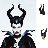 New arrival Comfortable Latex maleficent horns Evil black Queen Hat maleficent headpiece halloween cosplay Headwear
