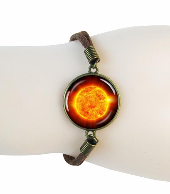 orange Sun Photo bracelet bangle Charm stardust bracelets The Sun NASA Space Picture bangle our star nebula leather jewelry(China (Mainland))