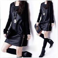 2015 Casual Autumn Winter Women's Plus Size OL Elegant PU Patchwork Long-sleeve Black Basic One-piece Dress Free Shipping #0022