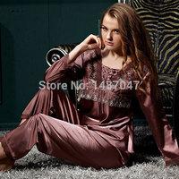 SALE 2014 New warm sexy night suit for women Pijama Nightgown Sleepwear  Sleep Kigurumi 2-piece Suit pink satin pajamas Set