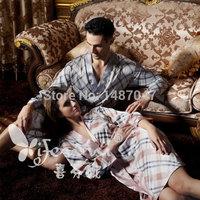 Home clothing 2014 New Warm sexy pijama long sleeve satin nightgown Bathrobe Sleeve Robe Sleep Kigurumi Couples Suit Pajamas