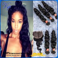 Peruvian Loose Wave Free Part Lace closure with Human Hair Bundles 4pcs Unprocess Loose Wave 5A Peruvian Virgin Hair Free Ship