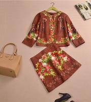 S-XXL 2015 new runway fashion Italy brand vintage keys flower print jacquard cotton coat skirts twinset clothing set skirt suits