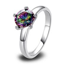 Free Shipping Wholesale 2014 Fulgurant Round Cut Mystic Rainbow Topaz Party Women wedding 925 Silver Ring Size 6 7 8 9 10 11 12