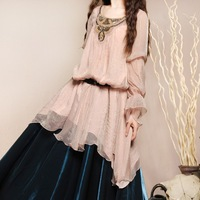 [ LYNETTE'S CHINOISERIE - BOSHOW ] Autumn Spring New Original Design Women Vintage Royal Style Loose Long Chiffon Beading Shirt