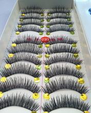 10 paare hochwertiger baumwolle Stiel schwarz langen, dicken falschen wimpern gefälschte wimpern(China (Mainland))