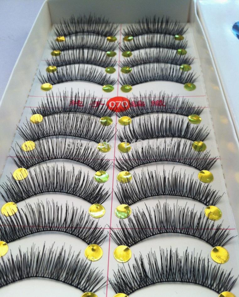 10pairs Top Quality Cotton stalk black long thick false eyelashes fake eye lashes(China (Mainland))