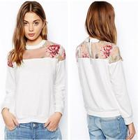 New Fashion 2014 Sweatshirt Women Long Sleeve O Neck Pullover Patchwork Casual Hoodies Zipper Back Sport Suit Women Tracksuits