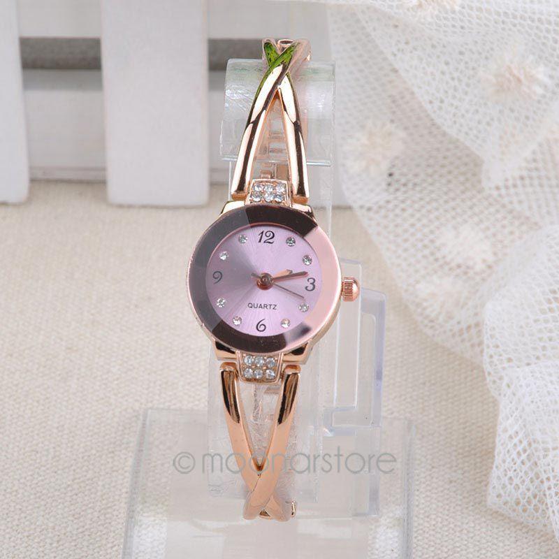 2015 New Fashion Women's Watch Slim Steel Band Royal Crystal Gold Watches Women Bracelet Casual Quartz Watch Y70*MHM526#M5(China (Mainland))