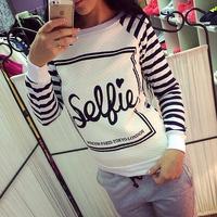 FanShou Free Shipping 2014 Women Hoody Long Sleeve Pullover Sportswear Letter Printed Casual Sweatshirts Striped Pullovers