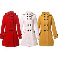 Fashion Winter Coat Women Casual Overcoat Wool Coat Double-Button Stand Collar Overcoat Hoodied Women Coat Winter Warm Jacket