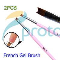 2Pcs Professional French Gel Polish Acrylic Brush 18.5cm Length Wood Handle Pink Art Styling Tools French Nail Brushes G0158X