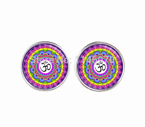 fashion earrings 2015 Om symbol jewelry Yoga flower earrings Lotus Mandala Aum Zen Glass Dome women earing jewellery wholesale(China (Mainland))
