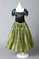 Retail New 2014 High quality Frozen New girl children dress print lace flowers kids short dress  free shipping