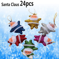 24PCS/LOT Small Santa Claus Christmas Tree New Year Christmas Item Supplies Tree Decoration Cheap Christmas Ornament Santa Claus