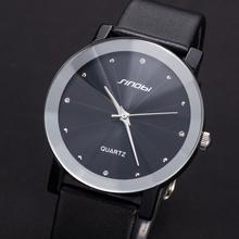 Top Sale! SINOBI Diamond Crystal Silver Case Elegant All Black Men Quartz Wrist Gift Dress Men's Leather Strap Watches