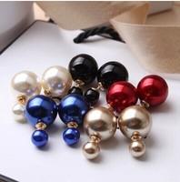 New Fashion Hot Selling Earring 2014 Double Sided Shining Pearl Stud Earrings Big Pearl Earring For Women  k3