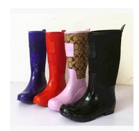 Brand New Women Fashion Glossy Rubber Rainboots Flat Heels Floral Waterproof Rain Boots Water Shoes Factory Price #TS183