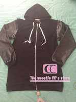 Fashion PU Leather Sleeves Detachable Silver Zipper Sleeveless Men Hoodies /Extended With a Hood Black Men Long Jackets