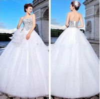 2015 Hot Sale Sweetheart Ball Gown Wedding Dresses White Organza Beaded Sequins Lace Up Back Custom Made Bridal Dresses AN179