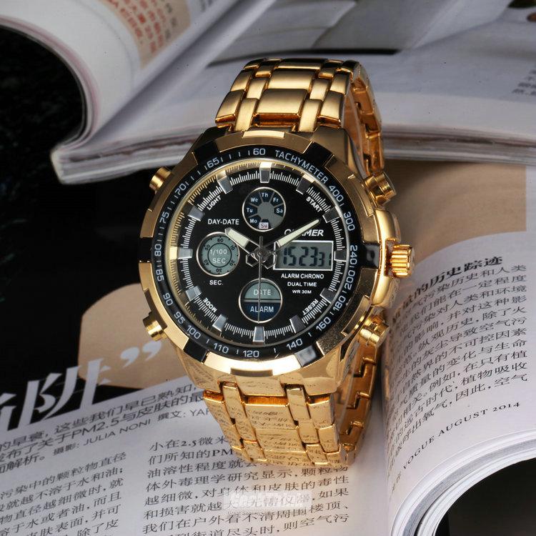 Fashion Brand Clock Male Digital Quatz Sports LED Watch Military full Steel Man Army Waterproof WristWatch Rologio Masculino(China (Mainland))