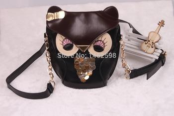 Бесплатная доставка 2014 новинка женщины кожаная сумка мультфильм мешок сова лиса плечо сумки женщины сумку